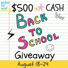 If you have kids in school, you know how expensive all those new clothes, shoes, school supplies and activities cost! How does $500 in CASH sound to help you out? I'm partnering with 10 bloggers for a fabulous giveaway to give your budget a boost, plus we're sharing a ton of back-to-school resources throughout the week!