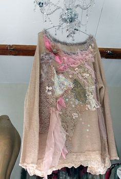 Wintermood - shabby chic romantic feminine jumper with ornate  laces and embroidery