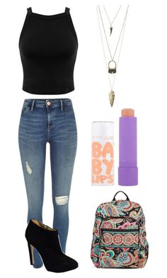 """Ew school"" by maeveengelbride ❤ liked on Polyvore featuring River Island, Vera Bradley, Miss Selfridge, Giuseppe Zanotti, Maybelline and Charlotte Russe"