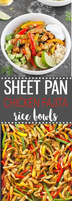 Sheet Pan Chicken Fajita Rice Bowls- A quick, simple and mouthwatering weeknight dinner that makes great leftovers! via as easy as Apple Pie