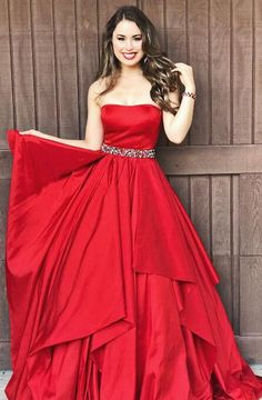 strapless red long prom dress, princess 2018 prom dress graduation dress dancing dress