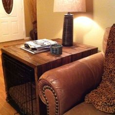 Possible idea for our new puppy! Side table built to cover large wire dog crate. Use that are roughed up with a chain and meat tenderizer, then stained with dark oak color from Lowes. Dog Crate Table, Diy Dog Crate, Large Dog Crate, Large Dogs, Wire Dog Crates, Dog Crate Cover, Airline Pet Carrier, Dog Rooms, Oak Color