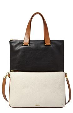 Fossil 'Memoir - Anthology' Colorblock Foldover Leather Tote
