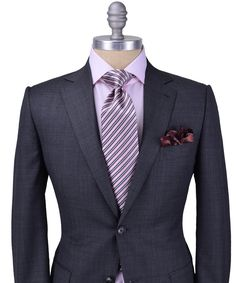 Gentlemen:  #Gentlemen's #fashion ~ Zegna Solid Grey Tic Weave Suit, Stanley Korshak.