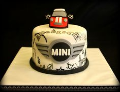 Mini Cooper cake (top part) Mini Cooper Cake, Mini Cakes, Cupcake Cakes, Mini Copper, Cake Logo, Delicious Cake Recipes, Mini One, Cake Toppings, Food Humor