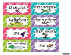 Teacher Toolbox Supply Labels: Bright Tonal Chevron