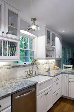 One of our own kitchen remodels including: Kabinart cabinets, Azul Aran granite, apron sink, LED lighting, and more. Kitchen Redo, Home Decor Kitchen, Kitchen Remodel, Kitchen Ideas, Kitchen Storage, Granite Kitchen, Kitchen Cabinets, Granite Countertops, Diy Storage Drawers