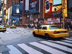 Taxis on Broadway Taxi, Broadway, New York, Artwork, Art Gallery, Painting, Toile, Artist, Paint