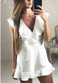 romper for round one of sorority recruitment Semi Formal Outfits, Casual Dresses, Short Dresses, Casual Outfits, Fashion Dresses, Summer Dresses, Look Fashion, Timeless Fashion, Womens Fashion