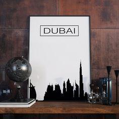Dubai, Skyline, City Skyline, Poster, Wanddekor, Kunstdruck, Artprint, Druckbare Kunst, Digitaler Download, Bürodekor, Dubai Kunst, Geschenk von FineArtHunter auf Etsy