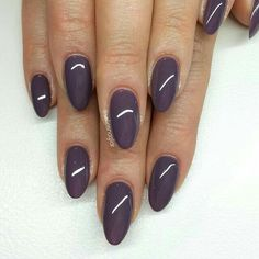 ashy purple almond nails