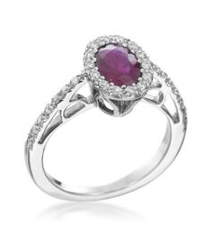 Favero - Spring 18KT White Gold Oval Ruby Ring