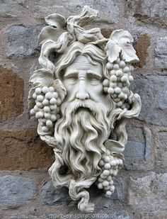 Garden Ornaments - Green Man Garden Ornaments Buy Stone Face Garden Ornament Small Bacchus We have a stunning collection of hand crafted Green Man wall decorations. Create a unique garden feature with one of our designs. Green Man, Stone Carving, Wood Carving, Wood Sculpture, Garden Sculpture, Metal Sculptures, Abstract Sculpture, Bronze Sculpture, Bacchus