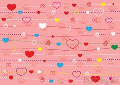 String of hearts vector colorful lines background