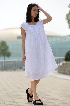 Linen dress women dress Midi summer cotton dress in white C260 by YL1dress on Etsy https://www.etsy.com/listing/96524210/linen-dress-women-dress-midi-summer