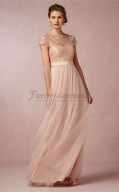 Chic Pearl Pink  A-Line/Princess Scoop Floor Length Tulle , Lace Bridesmaid Dresses(CBD08184)