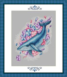 Whale Cross Stitch Pattern PDF Instant Download Flower Cross Stitch Fantasy Cross Stitch Bright Cros Dragon Cross Stitch, Fantasy Cross Stitch, Cute Cross Stitch, Cross Stitch Animals, Cross Stitch Flowers, Counted Cross Stitch Patterns, Cross Stitch Embroidery, Whale Pattern, Back Stitch