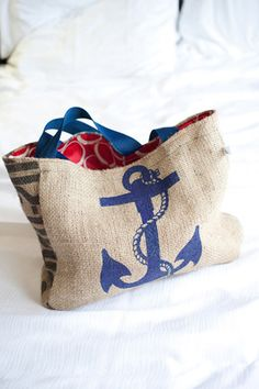 Nautical burlap guest welcome bag   Captured Photography