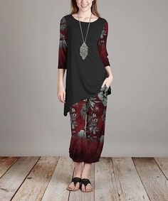 Loving this Burgundy & Black Floral Three-Quarter Sleeve Tunic & Pants on #zulily! #zulilyfinds