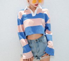Polo Outfits For Women, Crop Top Outfits, Clothes For Women, Kpop Fashion Outfits, Korean Outfits, Cute Vintage Outfits, Cute Outfits, Teen Girl Fashion, Loose Sweater