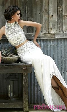 Two Piece Ivory Sherri Hill Dress at PromGirl.com
