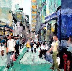 """Saatchi Art Artist Hervé CARRIOU; Painting, """"Scène de rue 4"""" #art"""
