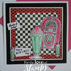 For The Love of Stamps Rock n Roll Jukebox and Shake It Baby stamp set. Kids Scrapbook, Scrapbook Pages, Cool Cards, Diy Cards, Hunkydory Crafts, Handmade Birthday Cards, Little Books, Masculine Cards, Art Activities