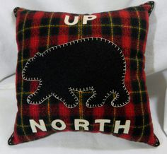 Leather and Wool Black Bear on Red Plaid Decorative by NessasNest, $40.00