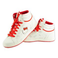 45a135bcb77a Hello Kitty Women s Girls  High-Cut Sneakers Shoes Red n White  915123 Suede