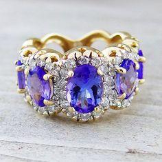 Tanzanite and Diamond Five Stone Estate Anniversary Ring 4.07 Carats 14kt Yellow Gold SALE        $989