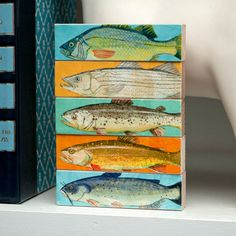 Fish Sticks  Freshwater Fish Art Block Set of 5 by johnwgolden, $18.00