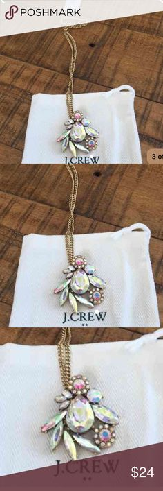 NWT J.Crew Winding Crystals Necklace Brand New with dust bag, this gorgeous necklace from J. Crew matches the beautiful earrings I have listed. The color is iridescent set in gold. Purchased from a Factory Mall Store. J. Crew Jewelry Necklaces