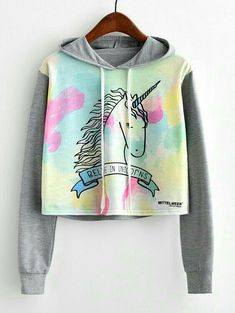 To find out about the Unicorn Print Contrast Sleeve Hoodie at SHEIN, part of our latest Sweatshirts ready to shop online today! Outfits Teenager Mädchen, Cute Teen Outfits, Komplette Outfits, Teenage Girl Outfits, Outfits For Teens, Stylish Outfits, Fashion Outfits, Unicorn Print, Cartoon Unicorn