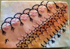 another pattern of beautiful stitches for my crazy quilt table runner