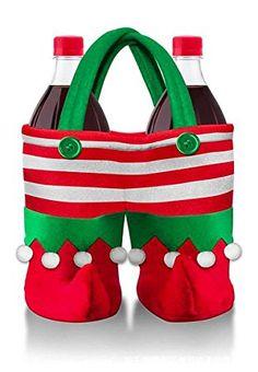 Christmas Drinks Bags Wine Bottle Holders Xmas Party Gift Bag Pant shape Stripe Pattern: Amazon.co.uk: Kitchen & Home