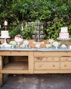 13 Dreamy Garden Wedding Ideas | Martha Stewart Weddings - Display your sweets on a vintage statement piece to give your décor a unique twist.