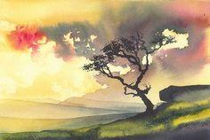 """Breaking Light, Dartmoor"" by Ian Scott Massie (watercolour)"