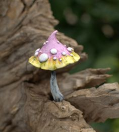 Pink light yellow fairy garden fantasy mushroom ,polymer clay toadstool Home decor,Fairy Garden