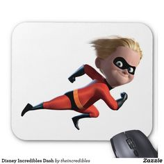 Disney Incredibles Dash Mouse Pad. Awesome Disney The Incredibles items to personalize. #disney #theincredibles #birthday #gifts #personalize #shopping