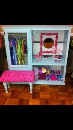 Cute dress up storage project that could include the kiddos in painting, etc. I love the homemade seat, too.