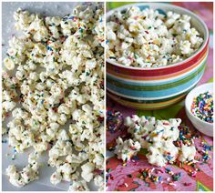 Funfetti Cake Batter Popcorn- a bit too sweet for my taste. Popcorn Recipes, Snack Recipes, Salted Caramel Popcorn, Chocolate Popcorn, White Chocolate, Chocolate Chips, Cake Batter Popcorn, Popcorn Bowl, Delicious Desserts