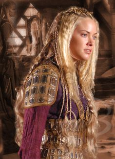 Kristanna Loken as Tara Goldenchild, a half elf barbarian in Forgotten Realms Campaing.