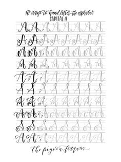 Hand Lettering Practice Sheets 10 Ways to Hand Letter the Alphabet Uppercase Alphabet, Hand Lettering Alphabet, Calligraphy Alphabet, Calligraphy Fonts, Script Fonts, Instant Lettering, Modern Calligraphy, Creative Lettering, Lettering Styles