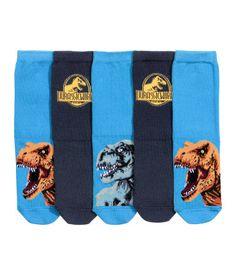 5 paar sokken | Donkerblauw/Jurassic World | Kinderen | H&M NL