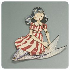 Mermaid Paper Doll- Fairy Tale Art Doll Character - Red White Blue - Animated Articulated Illustration $8