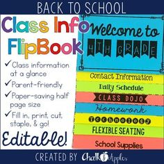 Put important back-to-school class information at parents' fingertips with this editable flip book! Perfect for Open House! This back to school parent information flip book is an easy way to get important class information to parents for Meet the Teacher,
