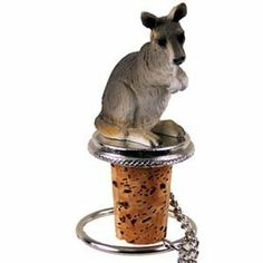 Kangaroo Bottle Stopper by Conversation Concepts. $11.95. Approximately 1.5 - 2 inches.. Made of Poly Resin and Hand Painted.. Satisfaction Guaranteed. Pewter Base with chain and Ring to keep it with the bottle.. Wine Save Cork. Make every event a great event with this life like critter on your cool Kangaroo Bottle Stopper. Who could resist the charms of this cute little guy designed to fit perfectly atop any standard wine bottle. Measuring at 1 1/2 to 2 inches tall and ...