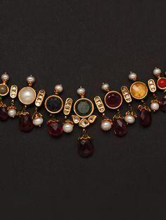Kundan necklace set with multicolour stones-JWST2607
