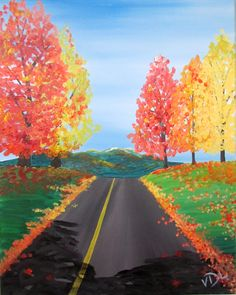 Acrylic Canvas - Afternoon Drive in New England - Source: Painting with a Twist