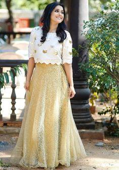 Buy White And Golden Color Crop Top Skirt by Akanksha Singh at Fresh Look Fashion Sari Blouse Designs, Fancy Blouse Designs, Lehenga Designs, Crop Top Designs, Designer Party Wear Dresses, Kurti Designs Party Wear, Indian Designer Outfits, Look Fashion, Skirt Fashion
